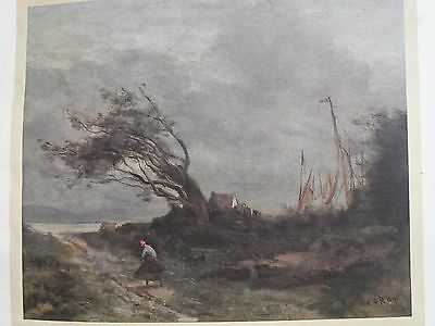Genuine Antique Corot Limited Edition Printed in 1912 Very rare beautiful print1