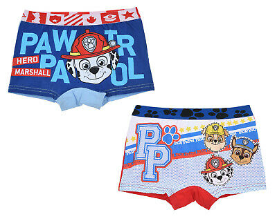 Official Paw Patrol 2 PACK Boxer Shorts Underwear Rubble Marshall Chase Ages 2-8