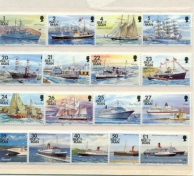 Isle of Man ships complete set(17 values-mnh)