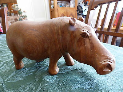 African Hippopotamus Wood Figurine Statue Carved Wooden Beautiful Wooden Hippo