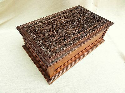 A Fine Quality Carved Anglo Indian Sandalwood Box From Mysore