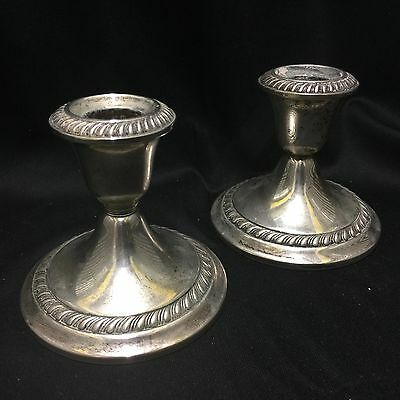 Gorham Sterling Silver Candle Holders #667 Antique Weighted Candle Holders