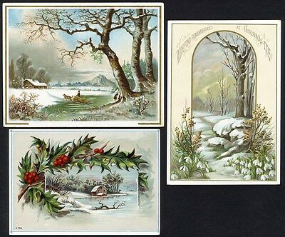 VICTORIAN SNOW SCENES 3 Christmas Greeting Cards 1880's Homes FOREST Holly Berry
