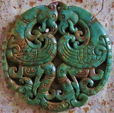 Chinese Carved Green Jade Double Phoenix Pendant