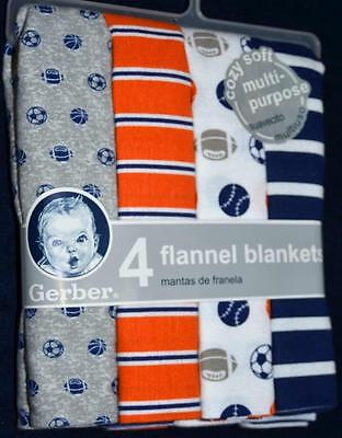 Gerber Baby Boy Receiving Blankets Pack of 4 100% Cotton Flannel Sports 30X30