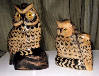 Vintage Pair Owl Family Statues Hand Carved with Glass Eyes