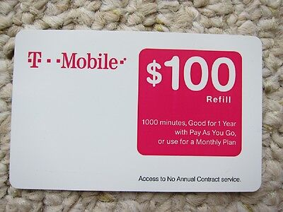 T-MOBILE $100 PREPAID REFILL CARD (New Unscratched)