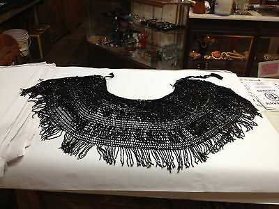 Victorian Black Beaded & Crocheted Mourning Shawl Capelet