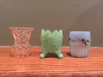 Lot of 3 Vintage / Antique Toothpick Holders (Pink, Green, Blue)
