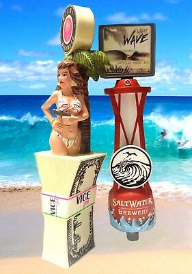 Miami Brewing Vice Beer Tap Handle Florida IPA & Salt Water Wheat Wave Ale Tap