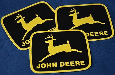 3 Black & Yellow John Deere Logo Leaping Decal Stickers NEW w/ Free shipping