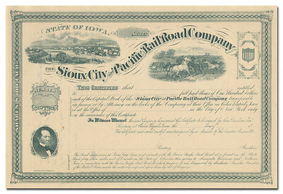 Sioux City and Pacific Rail Road Company Stock Certificate