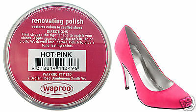 Hot Pink Shoe Polish Cream Restore Colour To Leather Shoes / Boots / Bags Waproo