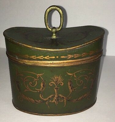 "ANTIQUE FRENCH TOLEWARE TIN TEA CADDY w/HANDLE~ 6"" W X 5"" T ~ BEAUTIFUL!!"