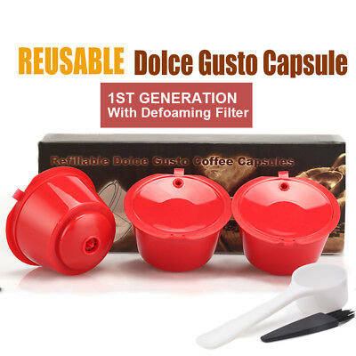 BRBHOM 3 Refillable Nescafe Dolce Gusto Coffee Capsules Reusable Pod Cup Filter