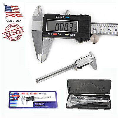 Digital Electronic Gauge Stainless Steel Vernier 150mm 6inch Caliper Micrometer'