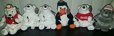 """Lot of 6 Coca Cola Plush Animals ~ Great Condition Apx. 6"""" tall"""