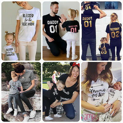 Family Tops Clothing Father Mother Daughter Son Summer T-shirt Matching Outfit