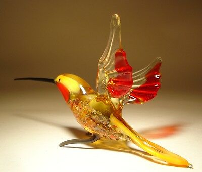 "Blown Glass Figurine ""Murano"" Art Yellow & Red HUMMINGBIRD Bird with Red Throat"