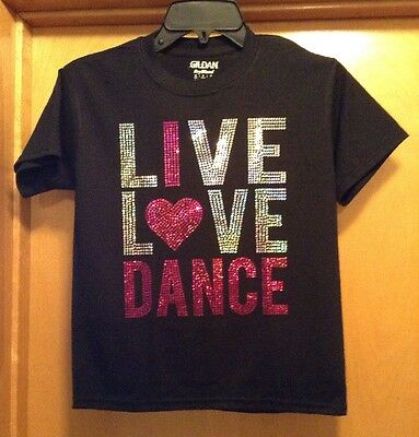 Black Shirt Pink Silver Sequined LIVE LOVE DANCE / Heart  - Youth Medium - New