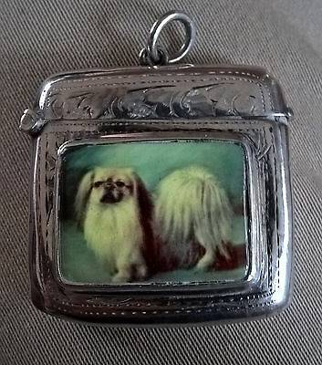Silver vesta matchsafe match safe dog Pekingese ? Hallmarked