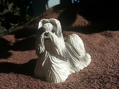 Cute Shih Tzu Black & White Dog Puppy Figurine