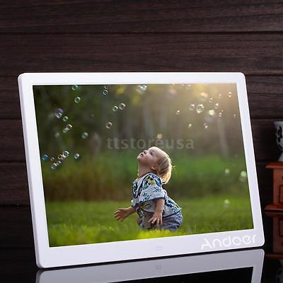 """15.6"""" HD LED Digital Photo Picture Frame Clock MP4 Player + Remote Control White"""