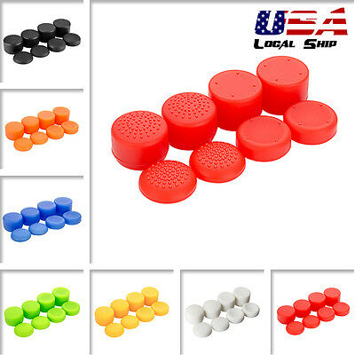 8x Custom White Raised Thumbstick Grip Cap Cover for PS4 PS3 Xbox One Controller