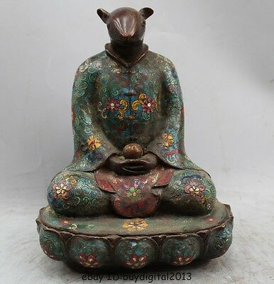 """11"""" China Chinese Folk Fengshui Bronze Cloisonne Zodiac Year Mouse Statue"""