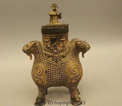 """11"""" Ancient Chinese Dynasty Bronze Wine Two Face Sheep Bird Pot Zun Bottle Vase"""