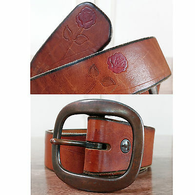 Vtg 70s Brown Tooled Leather Red Painted Roses Floral Hippie Belt 30 - 34