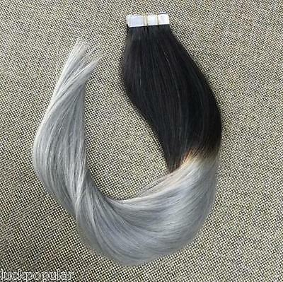 Seamless Tape in Weft Remy Human Hair Extensions Ombre T color Black To Gray 18""