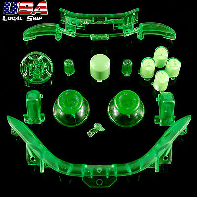 Transparent Green Full Set Kit RBLB Button Bumper for Xbox 360 Controller Repair