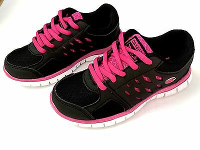 NEW Kids Girls Lace Up Black Fuschia Athletic Running Shoes Tennis size 10-4