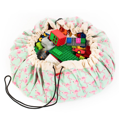 NEW Play And Go Lego Toy Storage Bag in Flamingo print from Purple Turtle Toys