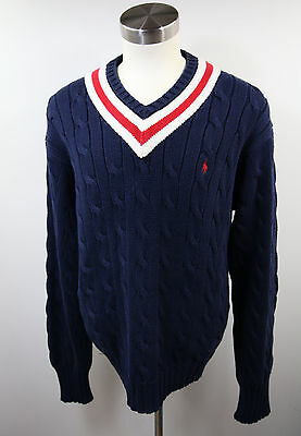 Mens Polo Ralph Lauren navy blue red white V neck Tennis Cable knit sweater XL