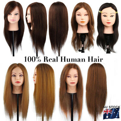 Real Human Hair Cosmetology Hairdressing Training Head Mannequin Salon + Clamp