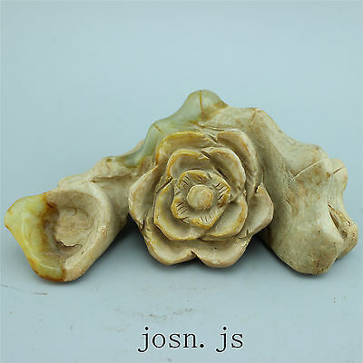 Chinese Antique old hard jade jadeite hand-carved unearthed collection flowers