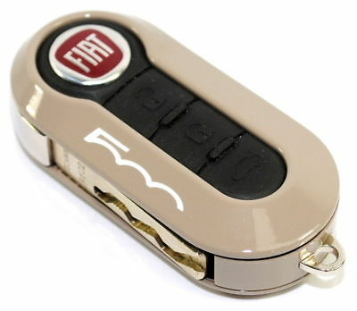 Fiat 500 Single Light Brown Remote Key Cover Case New Genuine 50926869B