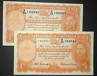 1952 Australia Coombs/Wilson 2 x consecutive ten shillings banknotes - gEF/aUNC