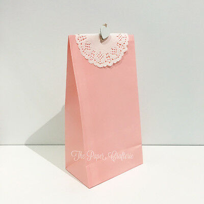 PINK PAPER BAGS Party Gift Wedding Baby Shower Bomboniere Favours 10 / 20 pcs
