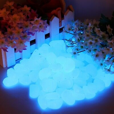 Sky Blue 100 pcs Man-Made Glow in the Dark Pebbles Stone for Garden Walkway Hot