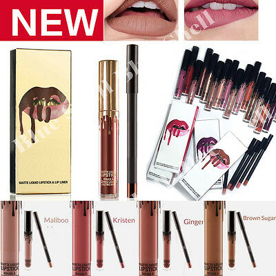 Long Lasting Lipstick Waterproof Matte Liquid Lip Gloss Lips Liner Cosmetics Kit