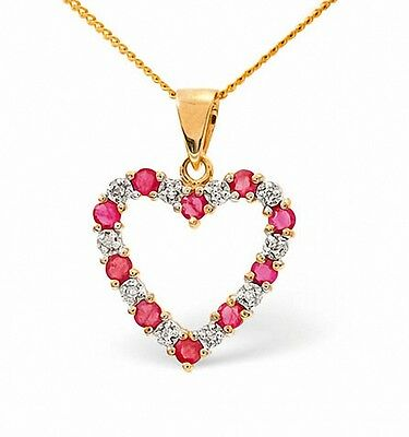 Heart Pendant Ruby and Diamond Yellow Gold Necklace Appraisal Certificate