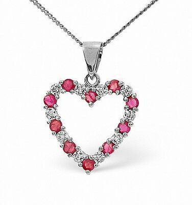 Heart Pendant Ruby and Diamond White Gold Necklace Appraisal Certificate