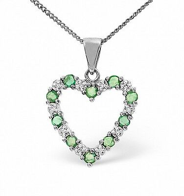 Heart Pendant Emerald and Diamond White Gold Necklace Appraisal Certificate