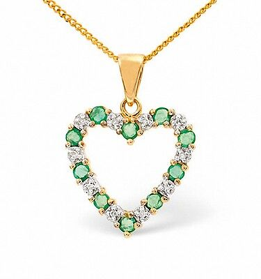 Heart Pendant Emerald and Diamond Yellow Gold Necklace Appraisal Certificate