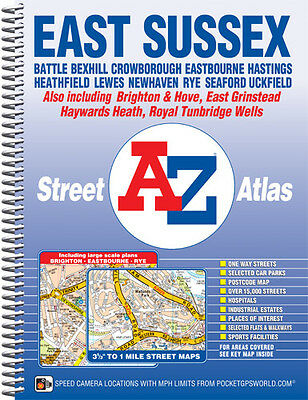 East Sussex Street Atlas by A-Z Maps (Spiral)