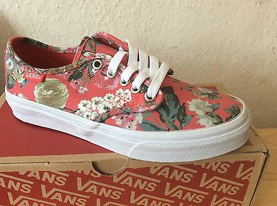 7e07113001 Vans Camden Stripe Red Tapestry Girls Trainers Floral Shoes Pumps Flowers  Size 3