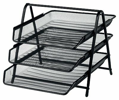 Stackable 3 Tier Desk Document Letter Tray Organizer (Black)